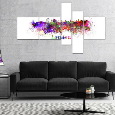 Designart London Skyline Multipanel Cityscape Canvas Artwork Print - 4 Panels