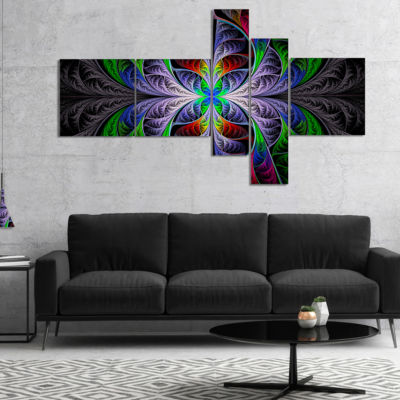 Designart Beautiful Fractal Stained Glass Multipanel Abstract Wall Art Canvas - 5 Panels
