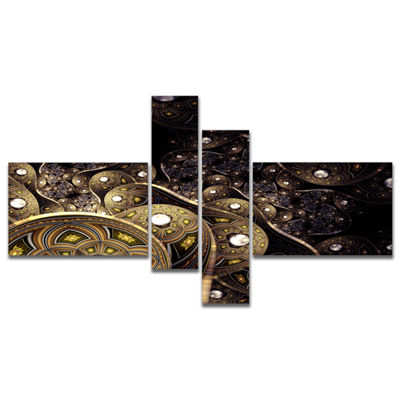 Designart Beautiful Gold Metallic Fabric Multipanel Abstract Print On Canvas - 4 Panels