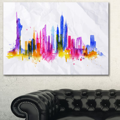 Designart Silhouette Overlay New York Cityscape Canvas Art Print - 3 Panels