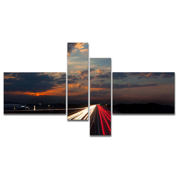 Designart Long Exposure Traffic Multipanel Abstract Canvas Art Print - 4 Panels