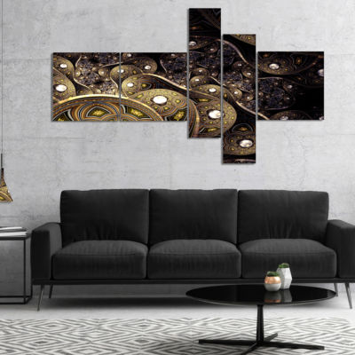 Designart Beautiful Gold Metallic Fabric Multipanel Abstract Print On Canvas - 5 Panels