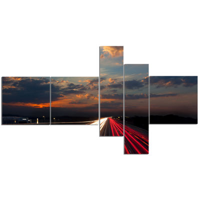 Designart Long Exposure Traffic Multipanel Abstract Canvas Art Print - 5 Panels