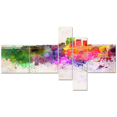 Designart Louisville Skyline Multipanel CityscapeCanvas Artwork Print - 5 Panels