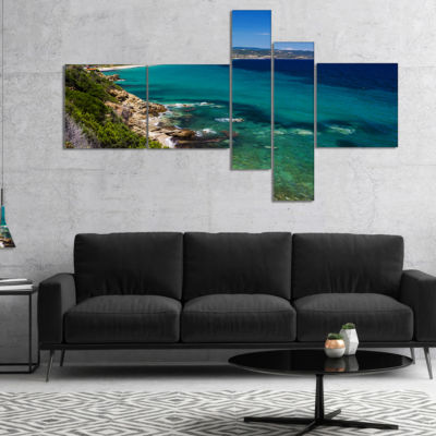 Designart Beautiful Greek Beach Of Sea MultipanelSeashore Canvas Art Print - 5 Panels