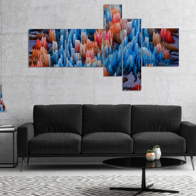 Designart Macro Render Structure Blue Red Multipanel Canvas Art Print - 4 Panels