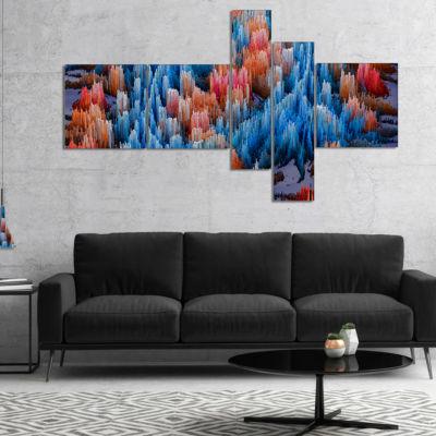 Designart Macro Render Structure Blue Red Multipanel Canvas Art Print - 5 Panels