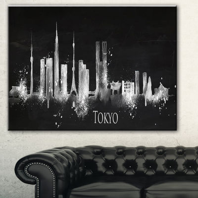 Designart Silhouette Tokyo Black Cityscape Painting Canvas Print - 3 Panels