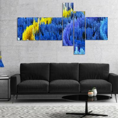 Designart Macro Render Structure Blue Yellow Multipanel Canvas Art Print - 4 Panels