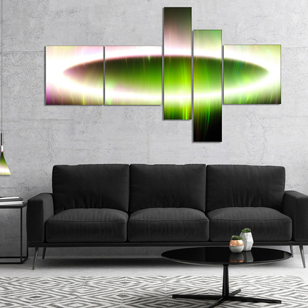 Designart Beautiful Green Northern Lights Multipanel Abstract Canvas Art Print - 4 Panels