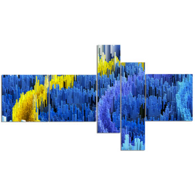 Design Art Macro Render Structure Blue Yellow Multipanel Canvas Art Print - 5 Panels