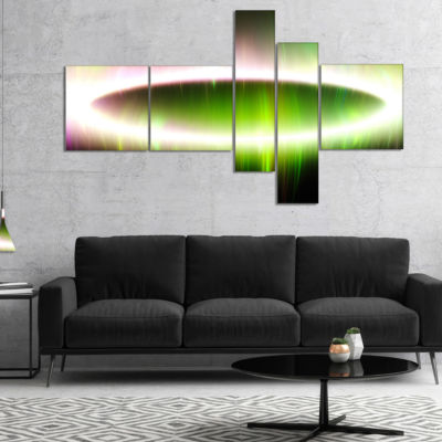 Designart Beautiful Green Northern Lights Multipanel Abstract Canvas Art Print - 5 Panels