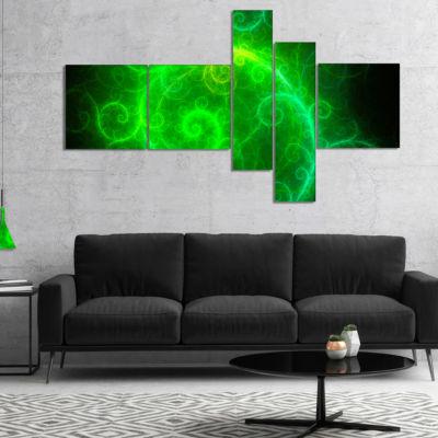 Designart Beautiful Green Pattern On Black Multipanel Abstract Wall Art Canvas - 4 Panels