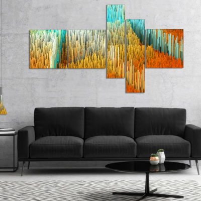 Designart Macro Render Structure Yellow Orange Multipanel Canvas Art Print - 5 Panels