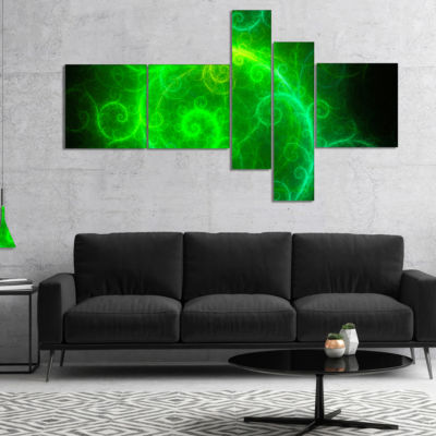 Designart Beautiful Green Pattern On Black Multipanel Abstract Wall Art Canvas - 5 Panels