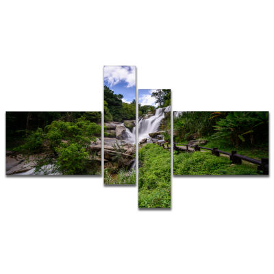 Designart Mae Klang Waterfall Thailand MultipanelLarge Landscape Canvas Art - 4 Panels