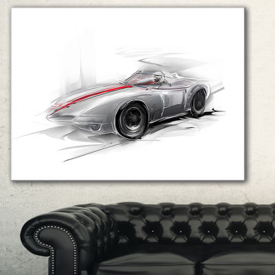 Designart Silver Formula One Car Digital Art CarCanvas Print - 3 Panels
