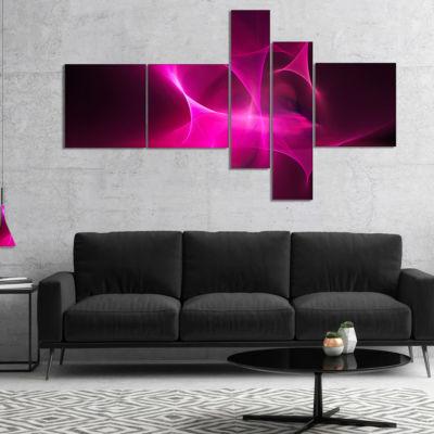 Designart Magenta Fractal Desktop Multipanel Abstract Canvas Art Print - 5 Panels