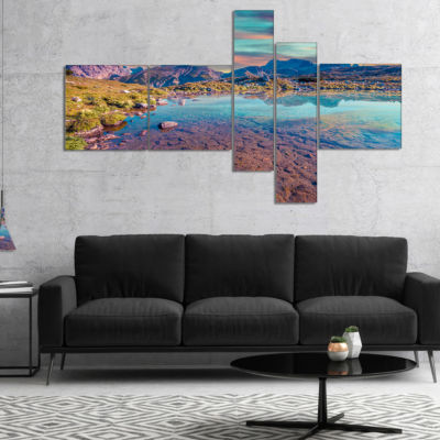 Designart Beautiful Lake In Lago Rienza MultipanelSeashore Canvas Art Print - 5 Panels