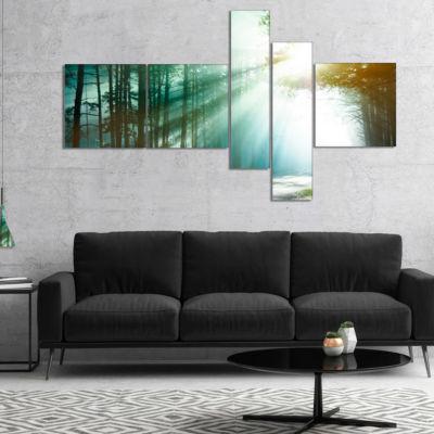 Designart Magic Blue Forest Multipanel Landscape Photography Canvas Print - 5 Panels