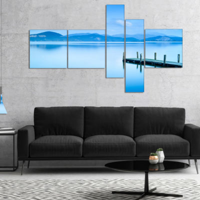 Designart Beautiful Pier In Sea Multipanel Seascape Canvas Art Print - 4 Panels