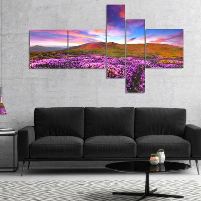Designart Magic Pink Rhododendron Flowers Multipanel Landscape Canvas Art Print - 5 Panels