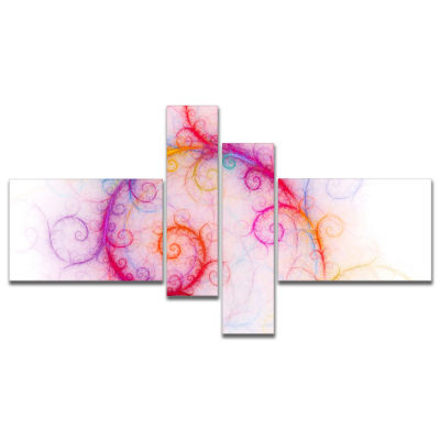 Designart Beautiful Pink Fractal Pattern Multipanel Abstract Wall Art Canvas - 4 Panels