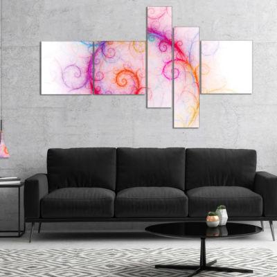 Designart Beautiful Pink Fractal Pattern Multipanel Abstract Wall Art Canvas - 5 Panels
