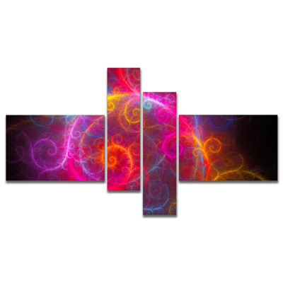 Designart Beautiful Pink Pattern On Black Multipanel Abstract Wall Art Canvas - 4 Panels