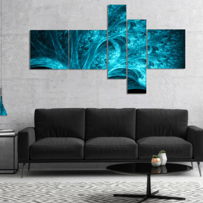 Designart Magical Blue Psychedelic Forest Multipanel Abstract Canvas Art Print - 4 Panels