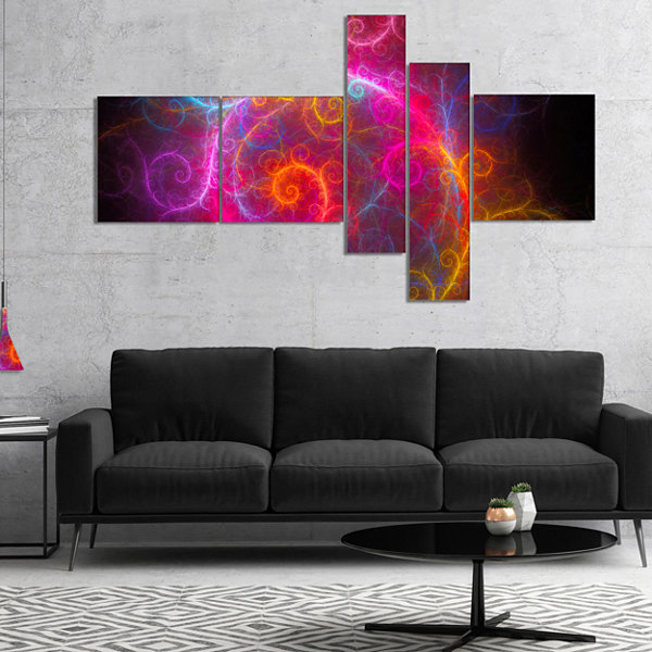 Designart Beautiful Pink Pattern On Black Multipanel Abstract Wall Art Canvas - 5 Panels