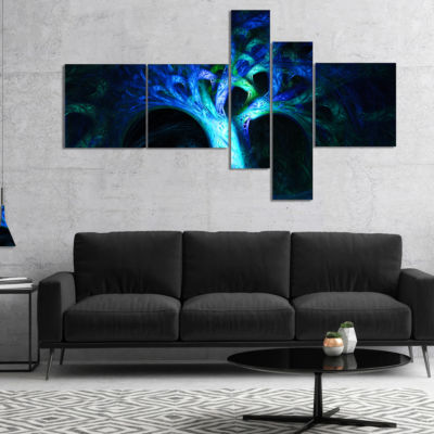 Designart Magical Blue Psychedelic Tree MultipanelAbstract Canvas Art Print - 4 Panels