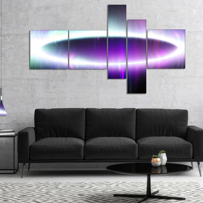 Designart Beautiful Purple Northern Lights Multipanel Abstract Canvas Art Print - 4 Panels