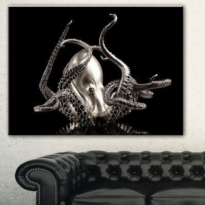 Designart Silver Octopus Abstract Canvas Art Print- 3 Panels