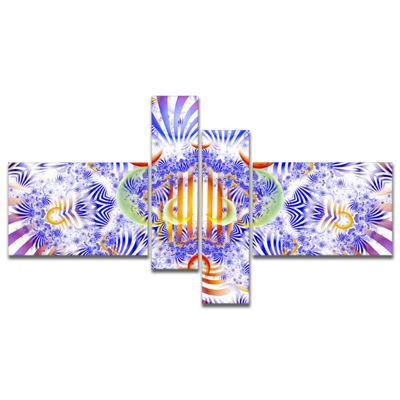Designart Magical Fairy Pattern Blue Multipanel Abstract Art On Canvas - 4 Panels