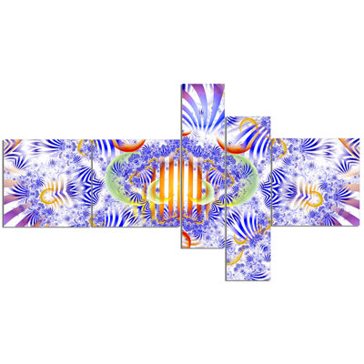 Designart Magical Fairy Pattern Blue Multipanel Abstract Art On Canvas - 5 Panels