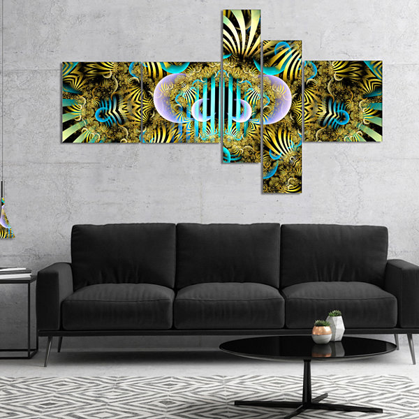 Designart Magical Fairy Pattern Brown MultipanelAbstract Art On Canvas - 4 Panels