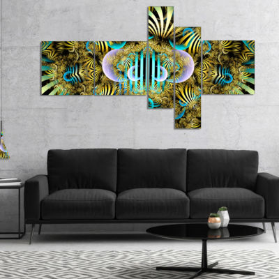 Designart Magical Fairy Pattern Brown MultipanelAbstract Art On Canvas - 5 Panels