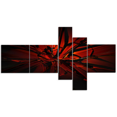 Designart Beautiful Red 3D Crystal Design Multipanel Abstract Canvas Art Print - 5 Panels