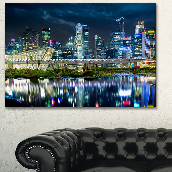 Designart Singapore Financial District  CityscapePhoto Canvas Print - 3 Panels