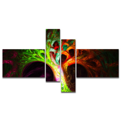 Design Art Magical Green Psychedelic Tree Multipanel Abstract Art On Canvas - 4 Panels