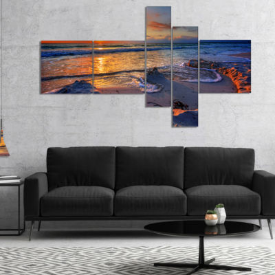 Designart Beautiful Seashore With Yellow Sun Multipanel Seashore Canvas Art Print - 4 Panels