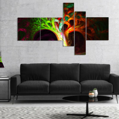 Designart Magical Green Psychedelic Tree Multipanel Abstract Art On Canvas - 5 Panels