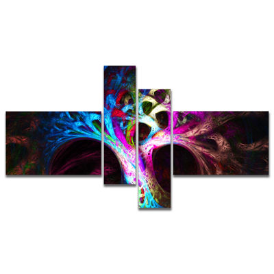 Designart Magical Multi Color Psychedelic Tree Multipanel Abstract Canvas Art Print - 4 Panels