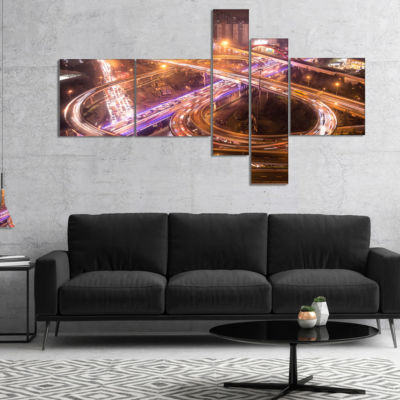 Designart Beautiful Shanghai Traffic Multipanel Extra Large Canvas Art Print - 4 Panels