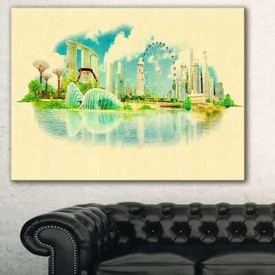 Designart Singapore Panoramic View Cityscape Watercolor Canvas Print - 3 Panels