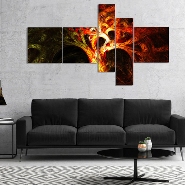 Designart Magical Orange Psychedelic Tree Multipanel Abstract Canvas Art Print - 4 Panels