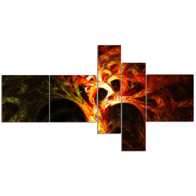 Designart Magical Orange Psychedelic Tree Multipanel Abstract Canvas Art Print - 5 Panels