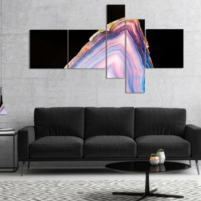 Designart Beautiful Slice Of Agate On Black Multipanel Large Abstract Canvas Artwork - 4 Panels
