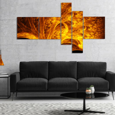 Designart Magical Yellow Psychedelic Tree Multipanel Abstract Art On Canvas - 4 Panels